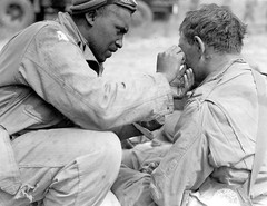 #An American soldier helps a comrade remove metal shrapnel from his face during the Invasion of Normandy, two days after the initial Normandy landings. France. 8 June 1944 [1024 x 792] #history #retro #vintage #dh #HistoryPorn http://ift.tt/2fp7pIz (Histolines) Tags: histolines history timeline retro vinatage an american soldier helps comrade remove metal shrapnel from his face during invasion normandy two days after initial landings france 8 june 1944 1024 x 792 vintage dh historyporn httpifttt2fp7piz