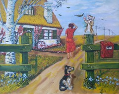 THE LADY IN RED (tomas491) Tags: oilpainting tomasljunggren art blowing cat crazycat dog hound lady girl women leafs birch countryhouse wheel postbox flowers sky clouds landscape