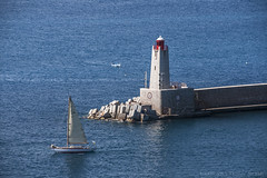 Nice lighthouse from above (lunaryuna) Tags: southernfrance cotedazur nice baydesanges mediterranean marina lighthouse sailingboat sea solitude latesummer theenchantmentofseasons lunaryuna