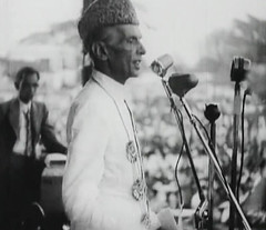 Jinnah in a public meeting (Doc Kazi) Tags: pakistan india independence negotiations ceremonies jinnah gandhi nehru mountbatten viceroy wavell stafford cripps edwina fatima muhammad ali