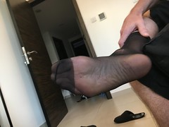 Foot in Nylons (jimsuliman) Tags: tickling feet tickle ticklish tootsies foot socks fetish smelly tights nylons stockings stinky itchy coochie