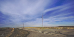 the wind my only companion (rockinmonique) Tags: alberta prairie road sky windmill spring highway gold blue moniquew canon canont6s sigma copyright2016moniquewphotography