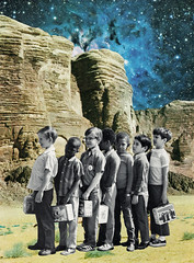 Do Your Best (Casey Lombardo) Tags: collage collages collageart collageonpaper art surreal surrealism space outdoor outerspace scifi boys schoolboys students desert