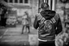 sons of anarchy (Daz Smith) Tags: dazsmith canon6d bw blackwhite blackandwhite bath city streetphotography people candid canon portrait citylife thecity urban streets uk monochrome blancoynegro mono sons anarchy biker jacket skull man male