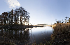 Waterside (rob.sidlow) Tags: panorama nature stitch light shadow sun sky sunset atmospheric atmosphere water river grass brenizer cano canon 5dmkii 5d scotland colour gradient pano trees wildlife landscape