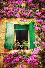 Window with Green Shutters and Flowers, Lombardy, Italy (George Oze) Tags: fineartarchitecture window houseexterior botanical flowers closeup architecturalelements quaint romantic building streetphotography colorimage italy lakegarda lombardy northernitaly detail painterly dreamy redflowers shutters open vertical bloom