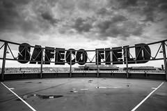 Safeco, Black & White (seango) Tags: usa pnw pacificnorthwest pacific northwest nikon d600 seango travel photography travels tourism getaway trip vacation 2016 october seattle washington wa mariners mlb baseball stadium safeco field safecofield park ballpark sign black white bw