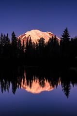 Rainier Reflections (Philip Kuntz) Tags: mtrainier reflections sunrise sunup firstlight dawn daybreak tipsoolake chinookpass washington