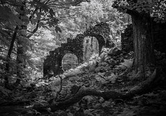 Madame Sherri's Castle Ruins (Rodney Harvey) Tags: madame sherri forest castle ruins staircase stone mystery new hampshire decay woods enchanted haunted spooky eerie infrared