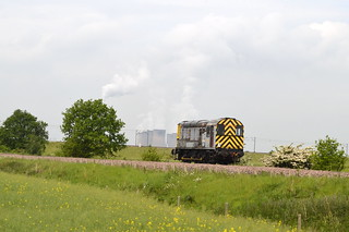 09201 trundles past Eggborough in the background with a Knottingley to Drax move, 20th May 2014.