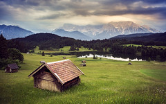 Karwendel at Sunset (Brock Whittaker Photography) Tags: lake black mountains green grass forest canon landscape bavaria photography 28mm olympus hills iso brock 500 minimalism f28 rolling garmisch 6d karwendel partenkirchen whittaker geroldsee