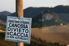 Nach Canossa gegangen (Elios.k) Tags: camera travel trees summer italy mountains color colour travelling green castle tourism sign june horizontal canon landscape outdoors photography scenery dof view hill hunting nopeople pole matilda valley modena ban distance region province emiliaromagna henryiv enza canossa appennines backgroundblur 5dmkii focusinforeground gangnachcanossa