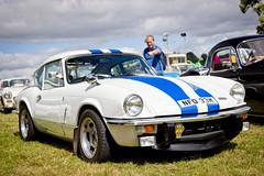 Triumph GT6 Mk3 (torquayadam) Tags: show blue white classic car canon stripes triumph restored restoration gt6 2014 powderham mk3 24105l 550d worldcars