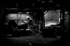 auf Schicht IV (RadarOReilly) Tags: bw night work blackwhite factory fabrik shift labour sw spark arbeit funken nachtschicht schwarzweis