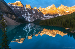 Moraine Lake sunrise (NettyA) Tags: travel trees summer lake canada mountains reflection nature sunrise landscape alberta northamerica banffnationalpark morainelake canadianrockies 2014 valleyofthetenpeaks sonynex6 nettya janetteasche