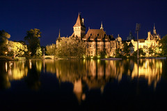 The Vajdahunyad castle in Budapest at night with the boating lake 3 (Romeodesign) Tags: park city lake castle ice water night reflections lights budapest boating rink burg vajdahunyad 550d