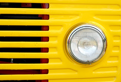 Yellow Headlight  (Explore 27/07/14) (only lines) Tags: yellow truck vintage kent headlight maidstone detling kentshow