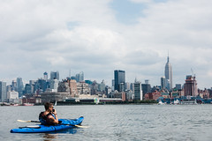 Snapping a shot of the Empire State Building from a kayak (Dan Nguyen @ New York City) Tags: nyc summer river outdoors manhattan midtown kayaking hudsonriver empirestatebuilding gothamist hellskitchen manhattankayakcompany