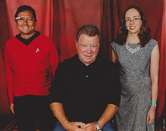 Me and Amy with William Shatner (brownpau) Tags: startrek rio lasvegas scan photoop amykow shatner brownpau williamshatner pauloandamy googleglass stlv2014