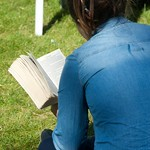 Reading on the grass at the Edinburgh International Book Festival
