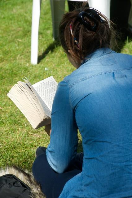 Reading on the grass at the Edinburgh International Book Festival