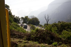 View of switchbacks on the non-railway path to Ooty