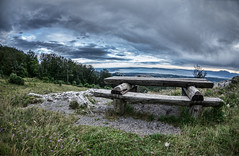 Point of rest (Tomislav C.) Tags: wood flowers trees sea sky panorama cloud white black mountains nature beautiful beauty grass clouds forest wonderful bench landscape woods rocks horizon calming croatia hills pines rest untouched stillness cypresses adriatic rijeka platak kvarner kvarnerbay pentaxk3