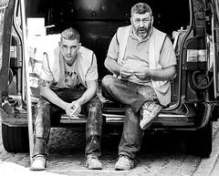 Smoke-stop (pootlepod) Tags: street blackandwhite monochrome photography workers sitting break workmen smoke tools stop rest van stphotographia
