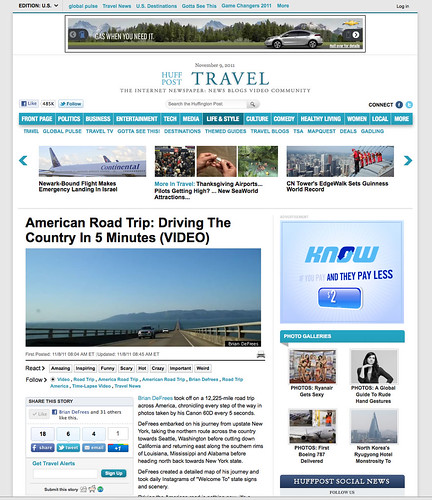 """Huffington_Post_Road_Trip_Travel_Timelapse_Drivelapse_DeFrees_Productions • <a style=""""font-size:0.8em;"""" href=""""http://www.flickr.com/photos/20810644@N05/15004330626/"""" target=""""_blank"""">View on Flickr</a>"""