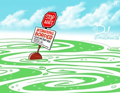 SR algae border cartoon (DSL art and photos) Tags: canada lakeerie greatlakes environment editorialcartoon sandusky drinkingwater peleeisland internationalboundary algalbloom algaebloom donlee toledowater