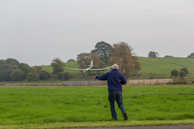 Arthur launching his glider.