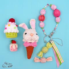 Amigurumi Bunny Ice Cream Cone Charm (enna design) Tags: icecreamcone bagcharm amigurumibunny amigurumifood miniaturefoodjewelry