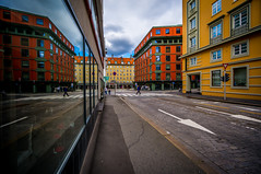 Streets of Bergen. (Paulius Bruzdeilynas) Tags: street city houses summer sky color reflection lines norway norge downtown lastday bergen oldtown