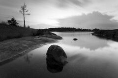 Mono sunset - Vstra Skagene (- David Olsson -) Tags: longexposure sunset summer blackandwhite bw lake seascape reflection tree nature monochrome june juni clouds reflections landscape mono nikon rocks sundown sweden outdoor stones cliffs reflected le mirrored grayscale fx grad vr vnern lonetree lonelytree sommar d800 hammar vrmland 2014 1635 svartvit ndfilter blackglass 1635mm lakescape gnd smoothwater lonesometree leefilters lenr svarvitt bigstopper davidolsson 06hard 1635vr vstraskagene skagene