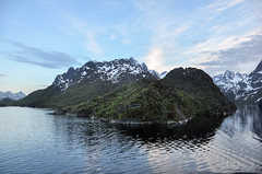 Entering Trollfjorden (hilda_r) Tags: ocean travel sunset vacation mountain mountains nature water norway spring europa europe seasons year fjord various lofoten locations hurtigruten skyclouds 2015 trollfjorden solvaertroms svolvrtroms