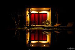 the Redrum (Manlio'77) Tags: red water colors architecture reflections dark thailand asia mood nocturnal vibrant room branches atmosphere swimmingpool curtains southasia thrilling manliophotography