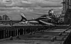 HELICOPTER PAD (JAY-PEGG) Tags: thames mono bw city england helicopter battersea