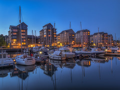 Portishead Marina (Wizard CG) Tags: portishead marina uk england bristol boats flats leisure hdr blue hour long exposure britain europe north somerset united kingdom boat reflection