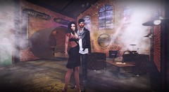 Club Sensation (lndya and Leeaker) Tags: ideza brown leather chersterfield skybox clock pipe table set wall light coffee unitedcolors dress chicchica shoes ascend pants boots ks poses