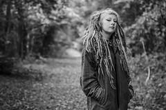 Happy Birthday Holly (1/2) (JonnyVSM) Tags: woods nature portrait bnw black white dreads dreadlocks autumn fall leaves hippy hippie wow contrast depthoffield dof mono tree automne