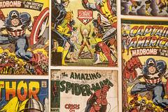Heroes [19/31] (eskayfoto (aka Nomis.)) Tags: canon eos 700d t5i rebel canon700d canoneos700d rebelt5i canonrebelt5i pictureaday october2016challenge october2016 october 2016 photoadayforamonth 1931 day19 sk201610193186raweditlr sk201610193186 lightroom marvel comic comics marvelcomics display charityshop captainamerica thor spiderman xmen cyclops colossus iceman nightcrawler storm angel banshee wolverine jeangrey beast professorx falcon artwork
