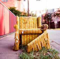 21140008 (alexdotbarber) Tags: 1125 120 6x6 80mmf28 hasselblad500cm houstonfourthward kodakektar100 bokeh chair colornegative comfychair f28 heavytrash loungechair mediumformat