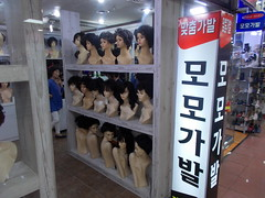 "Korea Daejeon old-school wig shop with wares on display - ""Wigging Out?"" (moreska) Tags: korea daejeon wig shop oldschool retro 1980s hangul signage displays weave mannequin hairpieces beauty  underground malls storefronts rok asia"