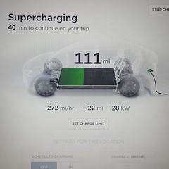 Supercharging the Tesla for the next leg of the trip. Time for lunch.