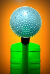 Watering Pot (XoMEoX) Tags: dispenser brause sprühkopf pop wateringcan ewer wateringpot gieskanne giesskanne j2 nikon green grün orange löcher holes minimal minimalism colors colours farben round rund alien bewässerung
