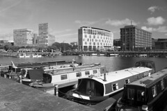 Barges and Buildings in Black and White (kailhen) Tags: docks barges buildings reflections water liverpool merseyside harbour harbor