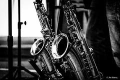 Saxes (joe petruz) Tags: music monocrome bnw blackwhite sax canon eos 650d street art musician instrument gold mono monochrome