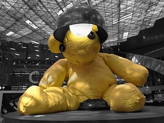 Hamad International Airport (osteras) Tags: teddy airport qatar doha hamad yellow bear lamp sculpture urifischer lampbear