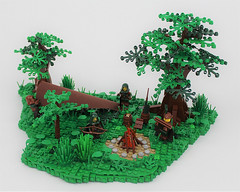 CCC XIV - Forest Camp (Michael the juggler) Tags: forest tree camp tent fire firepit bush landscape rogue hideout border edge green