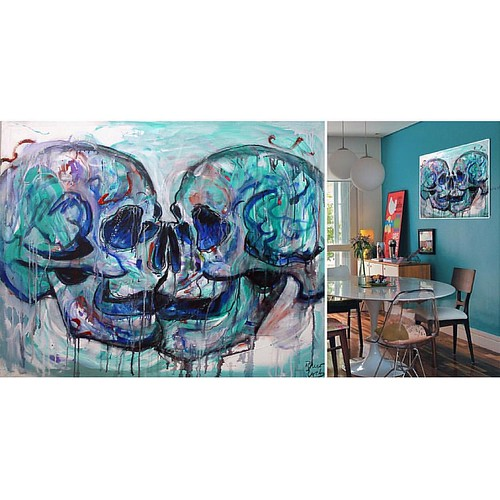 La pintura se queda en Macau, gracias Andreia por conectar con la pintura :) #macau #macao #china #portugal #art #travel #painting #skull #craneo #abstract